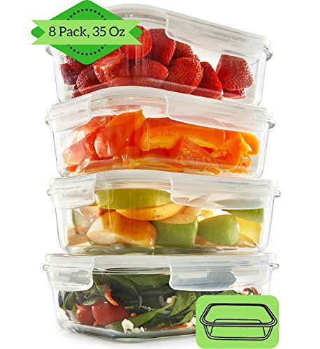 1 Compartment Glass Meal Prep Containers (8, 35) - Food Storage Containers with Lid | Portion Control | BPA Free, Microwave, Oven and Dishwasher Safe | Airtight and Leakproof Reusable Food Containers