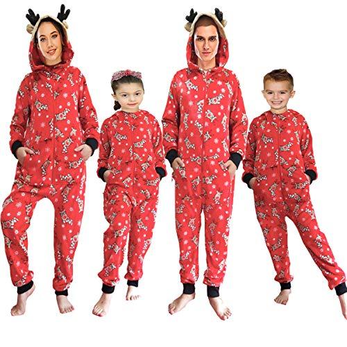 Family Matching Christmas Pajamas Set Reindeer Onesies Soft Flannel Sleepwear with Hood Festival Loungewear for Adults & Kids (Christmas Reindeer, S)