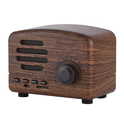 Denash Altoparlante Stereo in Legno Bluetooth Senza Fili Portatile retrò + Radio FM Supporta Scheda USB/TF con Microfono(di Legno)