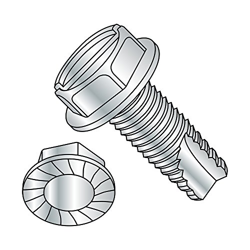 Steel Thread Cutting Screw, Zinc Plated Finish, Serrated Hex Washer Head, Slotted Drive, Type 23, 3/8