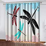 FOssIqU Impresión 3D de la cortina opaca 90x90inch Patrón de libélula de color Aislamiento acústico y prevención de ruido con cortinas de dormitorio perforadas, cortinas de decoración del hogar, 2 pan