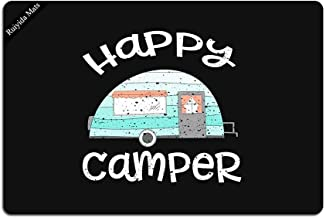 Happy Camper Retro Trailer RV Caravan Camping Doormat Entrance Floor Mat Doormat Door Mat Decorative Indoor Outdoor Doorma...