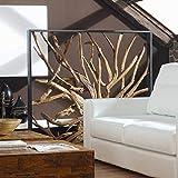 Möbel Bressmer Design Raumteiler Teak Holz Maze   Hochwertiger Sichtschutz spanische Wand Holzoptik massiv   Paravent Trennwand für Wohnzimmer Praxis Büro  