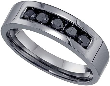 Sonia Jewels Size 9 925 Sterling Silver Black Round Diamond Mens Wedding Band Ring Channel Setting product image