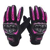 LVNRIDS Guantes de Moto, Pantalla Táctil en los Dedos Guantes de Carreras para Hombres y Mujeres para Motocross Rosa XL