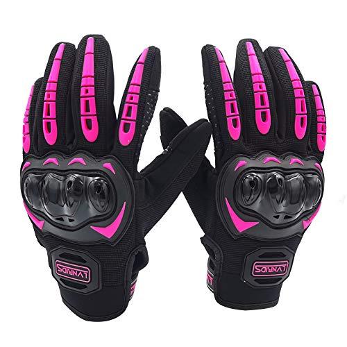 LVNRIDS Motorradhandschuhe Touchscreen Vollfinger Handschuhe für Herren Damen, für Motorradrennen Mountainbike Motorcross Rosa M