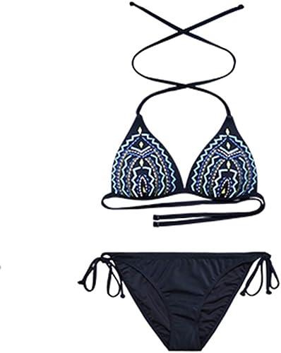 FENGMING Ensemble de Maillot de Bain pour Les Femmes - Bikini Sexy Halter Triangle, Maillots de Bain pour la Plage (Couleur   noir-B, Taille   S)