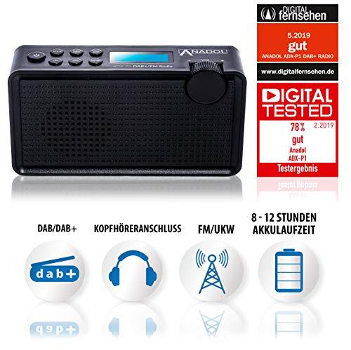 Anadol ADX-P1 DAB/DAB+/UKW/FM Radio - 20 Senderspeicherplätze, tragbar, zweizeiliger LCD-Display, Sleep-Timer, Akku & Netzbetrieb, Lautsprecher & Kopfhöreranschluss, USB-Ladekabel - schwarz