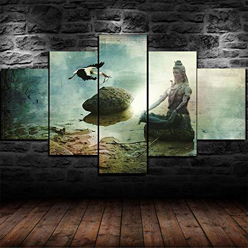 DBFHC Art Cuadros En Lienzo Lord Shiva Taglist Decoracion De Pared 5 Piezas Modernos Mural Fotos para Salon Dormitori Baño Comedor 150X80Cm
