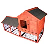 TRIXIE Pet Products Rabbit Hutch with Outdoor Run and Wheels, 78.25 x 31.75 x 44.25 inches