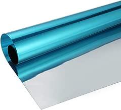 SW Privacy Window Film One Way Mirror Adhesive Film Heat Control Anti UV Window Glass Tint, 60Inch x 17.7Inch, Blue Silver