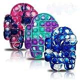 3 Pcs Push pop Bubble Fidget Toy, Silicone Tie-dye Fidget Toys,Autism Special Needs Stress Reliever, Squeeze Sensory Toy Relieve Emotional Stress for Kid Adult