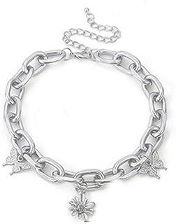 YERTTER Dainty Unique Punk Single Layer Butterfly Flower Pendant Chunky Choker Necklace Boho Jewelry Set Statement Chain N...