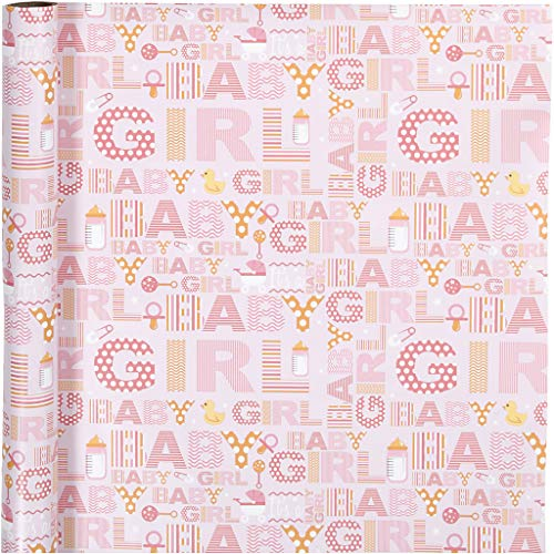 Inpakpapier, B: 50 cm, baby girl, 5m
