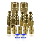 Le Lematec Air Tool Fittings; 1/4 Inch NPT Air Compressor Quick Connect Air Fittings; 15 Piece Set