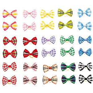 BINGPET 30 Pcs/15 Pairs Dog Hair Bows with Rubber Band Cute Plaid Bowknot Topknot Pet Grooming Dog Hair Accessories