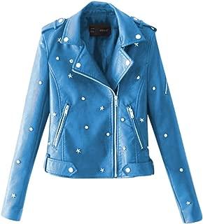 Jacket Womens Artificial Leather Coat Zipper Turndown Collar Outwear