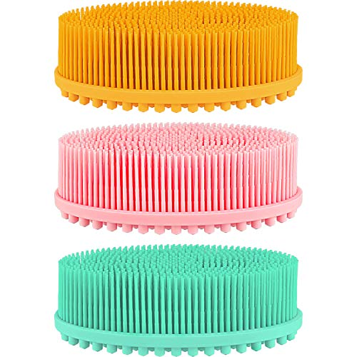 3 Pieces Exfoliating Silicone Body Scrubber Body Silicone Scrubber Brush Silicone Body Wash Scrubber for Skin Exfoliation, 3 Colors (Orange, Green, Pink)