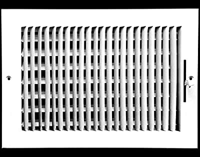 "12"" X 8"" 1-Way AIR Supply Grille - Vent Cover & Diffuser - Flat Stamped Face - White [Outer Dimensions: 13.75""w X 9.75""h]"