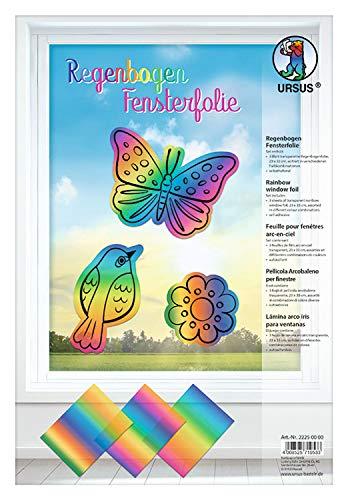 URSUS 22250000 Regenbogen Fensterfolie, 3 Blatt, ca. 23 x 33 cm groß, sortiert in 3 Farbkombinationen, lichtbeständig, abwischbar, wiederverwendbar, haftet ohne Kleber auf allen glatten Flächen