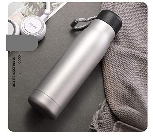 Jusemao Termo portátil taza al aire libre fitness acero inoxidable aislamiento botella de agua deportes al aire libre taza de agua 500ml-plata_550ML