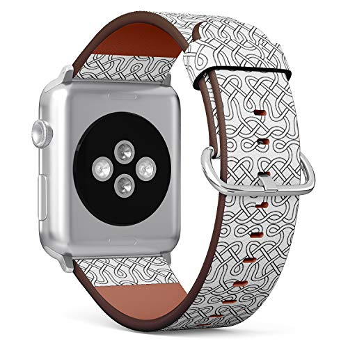 Compatible with (42/44mm) Apple Watch iWatch Serie 6/SE/5/4/3/2/1 - Replacement Leather Wristband Watch Band Strap Bracelet for Men and Women - Celtic Knot