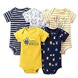 Paquete de 5 Bebé Niños Manga Corta Body Mameluco Algodón Chaleco Conjuntos 18-24 Meses