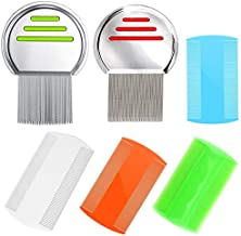 6 PCS Lice Combs, Hair Nit Comb Double Sided Comb Metal Teeth Comb Plastic Fine Tooth Head Lice Vacuum Combs Stainless Steel Metal Nit Comb For Kids Adults Pets Long Hair