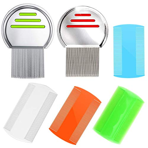 6 PCS Lice Combs Hair Nit Comb Double Sided Comb Metal Teeth Comb Plastic Fine Tooth Head Lice Vacuum Combs Stainless Steel Metal Nit Comb For Kids Adults Pets Long Hair