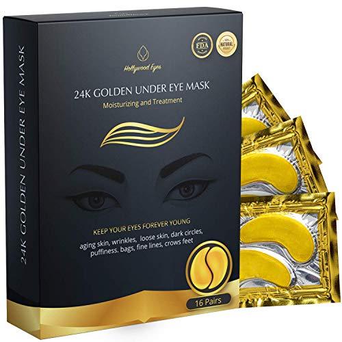 BrightJungle Under Eye Collagen Patch, 24K Gold Anti-Aging Mask, 108 cbd thc drug coca (Pink)