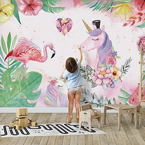 ZPDM 3D No Tejido o Vinile 15 tamaños Mural Pelar y Pegar Mural Fondo de Pantalla - Dibujos animados rosa flamenco unicornio - Mural Pared Salonsudeste De Personalizada Mural Pintura Al Óleo Estar Pap