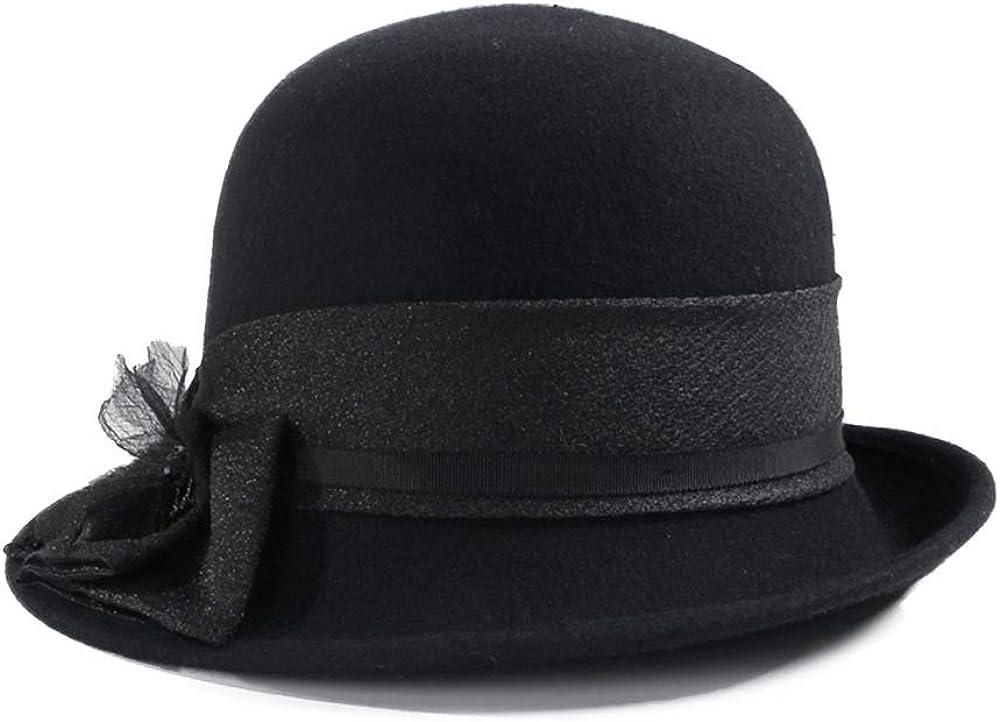 F FADVES Cloche Hat for Women Felt Elegant Fedora Bowknot Cap