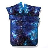WPHRL Cielo Estrellado Azul Juego de Ropa de Cama Funda de edredón 100% poliéster Funda de edredón con 2 Fundas de Almohada 150 x 200 cm