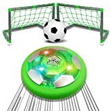AOKESI Hover Soccer Ball Set, Rechargeable Air Soccer, 2 Upgraded Goals, LED Light, Extra Soccer Ball, Hover Toys with Foam Bumper for Indoor Games, Gift for Toddlers Kids