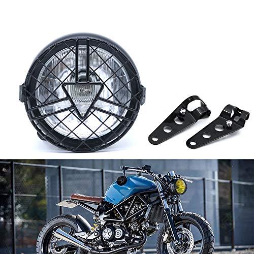 evomosa Universal Motorrad Frontscheinwerfer, 6'' Halogen Scheinwerfer mit Lampenschirmabdeckung Retro für Cafe Racer Bobber Chopper CG125 GN125 (Weiß)