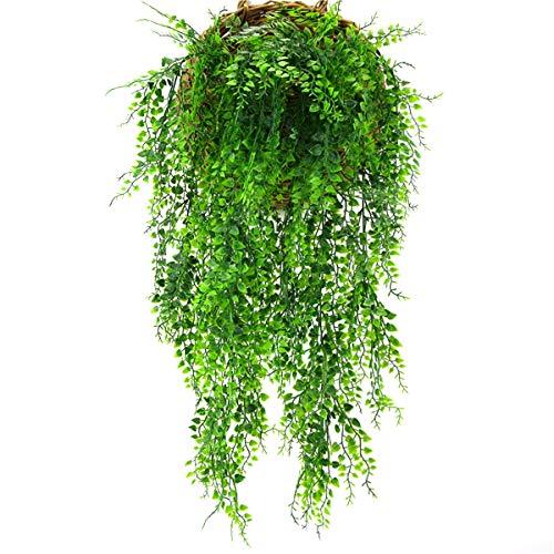 Yinuoday nep wijnstokken, kunstplanten opknoping Ivy bladeren plastic groen decor voor thuis kamer keuken tuin bruiloft slinger buiten jungle decoratie