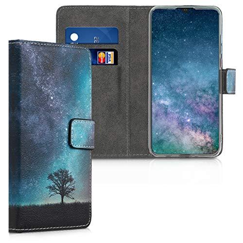 kwmobile Hülle kompatibel mit Huawei P30 Lite - Kunstleder Wallet Hülle mit Kartenfächern Stand Galaxie Baum Wiese Blau Grau Schwarz