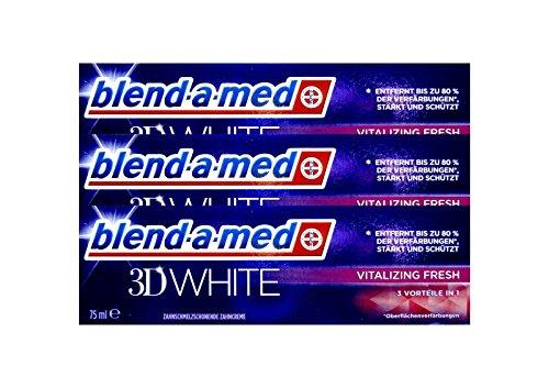 3x Blend-a-med 3D White Vitalizing Fresh 75ml, 3in1, Zahnschmelz schonend