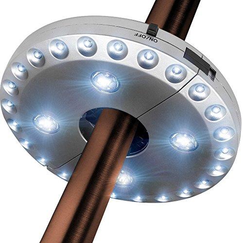 Lobzon Parasol LED Light 3 Niveau Variation 28 LED Camping tentes Patio Parapluie Pole d'éclairage monté ou suspendue n'importe où pour jardin d'extérieur à piles, Argent