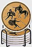 GUVICINIR Juego de 6 Posavasos de cerámica Absorbente con Base de Corcho,Soldado Ánfora Mitología Griega Antigua Grecia Escena Figura Negra Cerámica Estilo clásico Dioses Héroe Roma