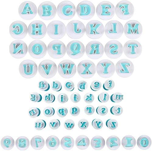 Maijia 62 stampi per biscotti a forma di lettere dell'alfabeto, per decorare cupcake, fondente, biscotti, goffratura, per decorare torte e torte (tipo 1/62 pezzi)