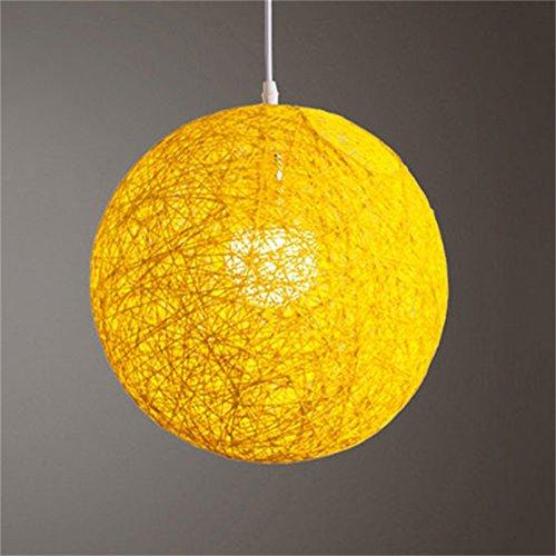 Yiwa Rotan kogel, rond, handgeweven, rotan, kogelhanger, lampenkap, accessoires, licht 15 cm diameter, geel