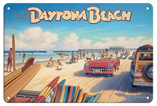 Pacifica Island Art Greetings from Daytona Beach, Florida - Spring Break - Vintage Travel Poster by Kerne Erickson - 8in x 12in Vintage Metal Tin Sign