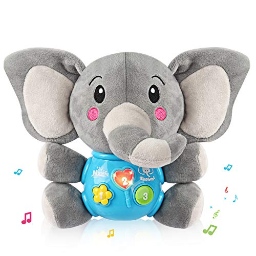 Vanmor Plush Elephant Musical Toy for Baby Infant Toddler with Music & Sound & Light Up Interactive Learning Development Educational Toy for 6 Months Babies Boys and Girls Shower Gift Birthday Gift