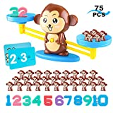 SKYFIELD Monkey Balance Math Game Counting Toys for Preschoolers, Ideal Educational STEM Gifts for Toddlers Number Recognition Counting and Basic Math Addition, 75 Pieces