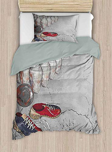 Bowling Party Comforter Quilt Bedding Cover Bowling Shoes Pins and Ball in Artistic Grunge Style Print Twin 68x88 Inch Best Modern Style for Men and Women