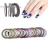LINVINC Fingernägel Nagelsticker Set - Zierstreifen Packung Mit Striping Tape in Verschiedenen Farben 6/14 Rollen 1mm/2mm/3mm Nageldesign Nail Art Stripes Tape Sticker