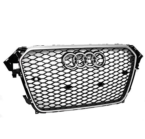 ZMAUTOPARTS For 2013-2016 Audi A4 / S4 B8.5 RS4 Style Honeycomb Mesh Hex Grille Gloss Black with Silver Trim
