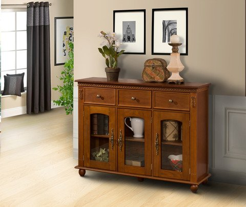 Pilaster Designs - Wood Console Sideboard Buffet Table With Storage And Glass Doors - Walnut Finish