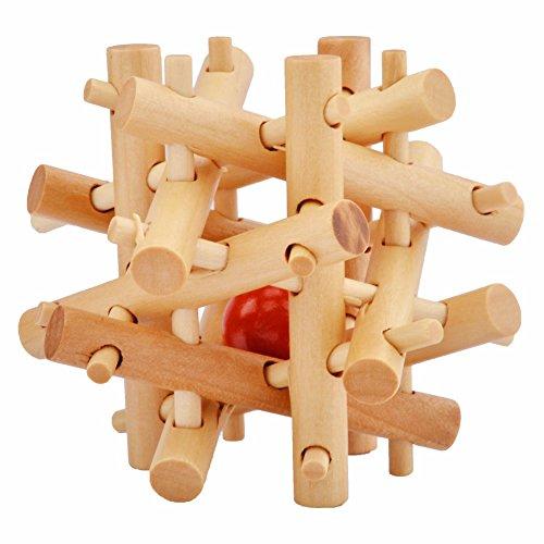 Everpert Holz Knobelspiele IQ Spiele Set 3D Puzzle Geduldspiele Denkspiel Logikspiele Rätsel Brainteaser als Adventskalender Füllung Inhalt für Kinder und Erwachsene (H)
